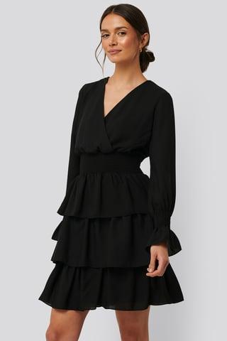 Black Robe Volantée Taille Nouée