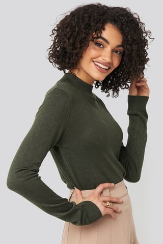 Khaki Turtleneck Knitted Top
