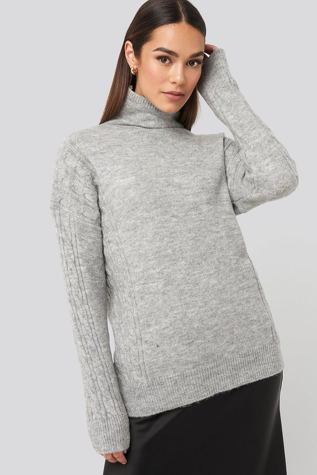 Gray Turtleneck Sleeve Detailed Knitted Sweater