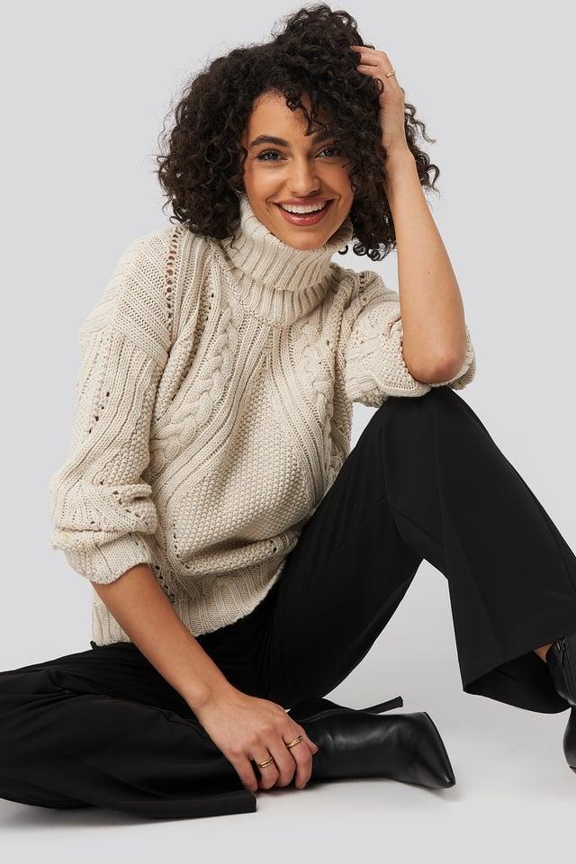 Ecru Turtleneck Sleeve Detailed Knitted Sweater