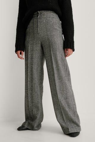 Antracite Pantalon Jambe Large Et Taille Haute