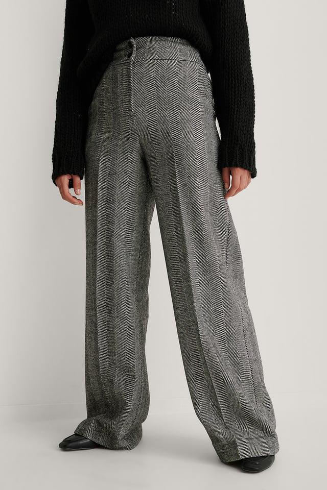 Pantalon Jambe Large Et Taille Haute Antracite
