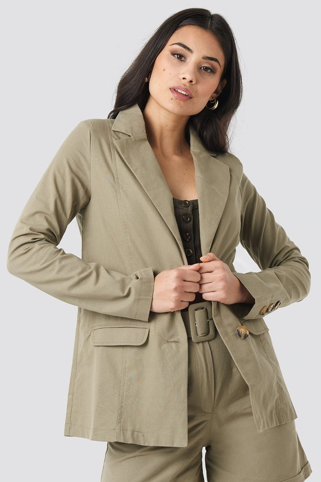 Khaki Yol Pocket Detailed Jacket