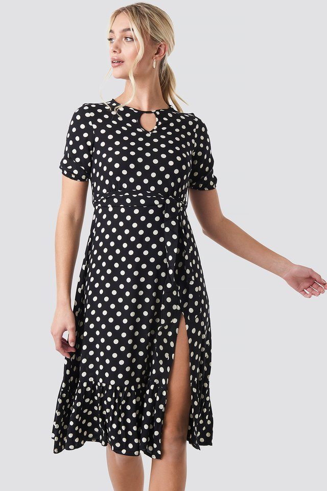Yol Polka Dot Midi Dress Black