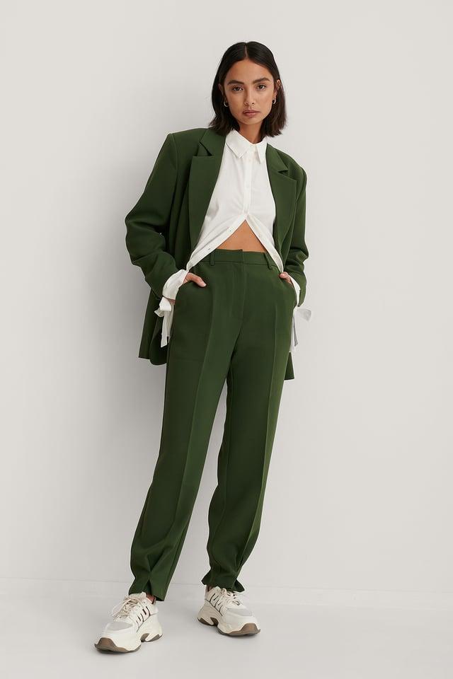 Pantalon Plissé Longueur Chevilles Dark Green
