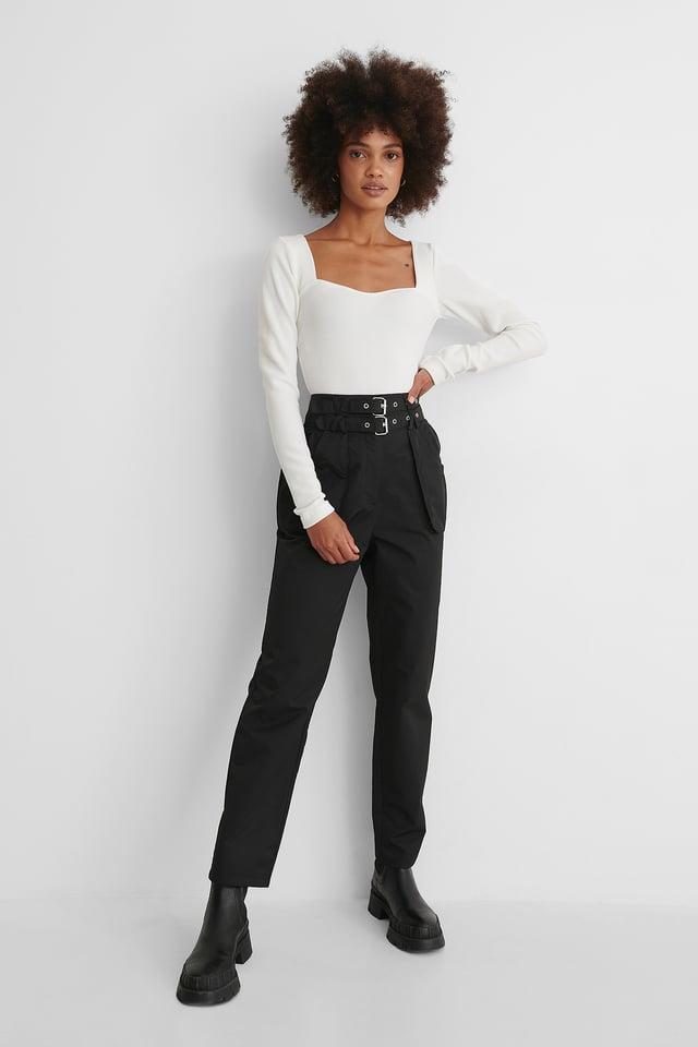 Pantalon Ample Avec Ceinture Black