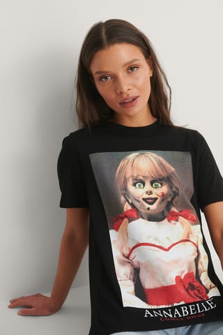 Black Print Annabell T-Shirt Basique