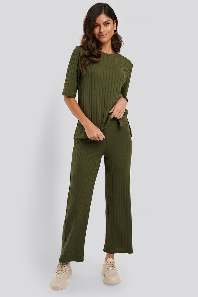 Army Green Pantalon Ample
