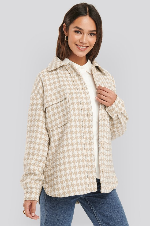 Beige/White Wool Blend Dogtooth Jacket
